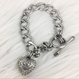 Juicy Couture silver chain charm heart bracelet